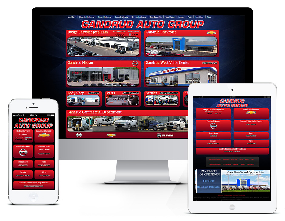 Gandrud Automotive and Green Bay Web Design Portfolio Responsive and Mobile Friendly