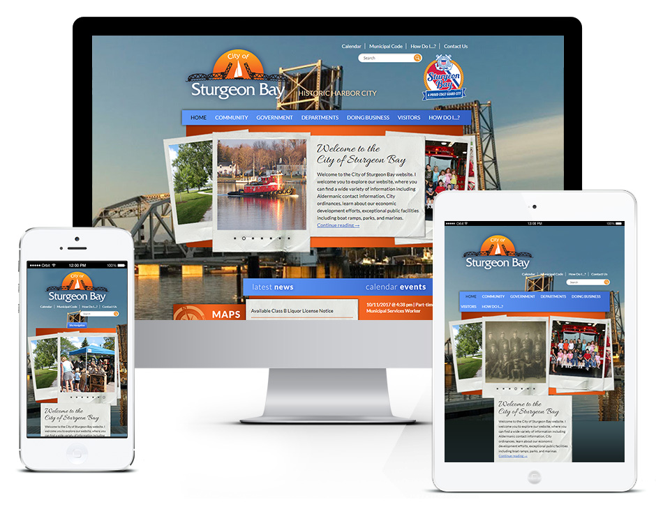 City of Sturgeon Bay Municipal Web Design Portfolio in Door County Responsive and Mobile Friendly