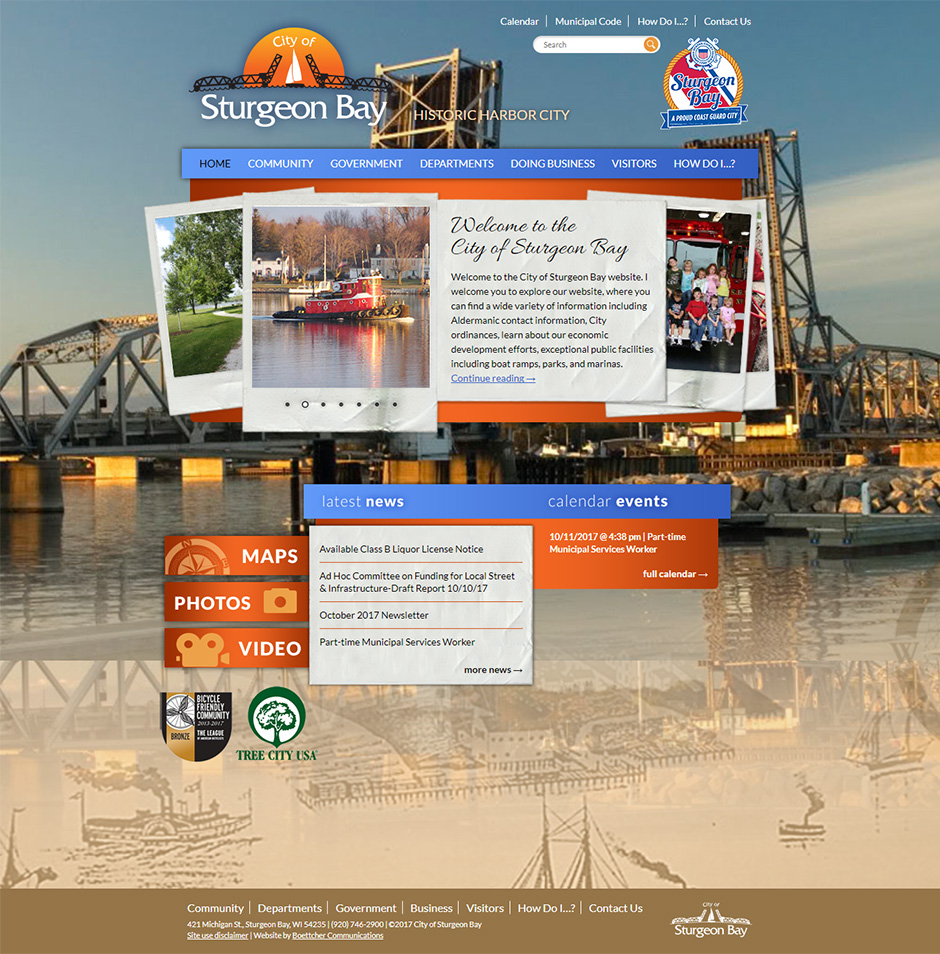 City of Sturgeon Bay Desktop Web Design Portfolio Display in Door County, WI